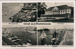 Ansichtskarte Travemünde-Lübeck Kurhaus, Hafen, Priwall Mittelfähre 1932