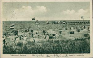 Ansichtskarte Prerow Sandburgen, Körbe und Seebrücke 1918