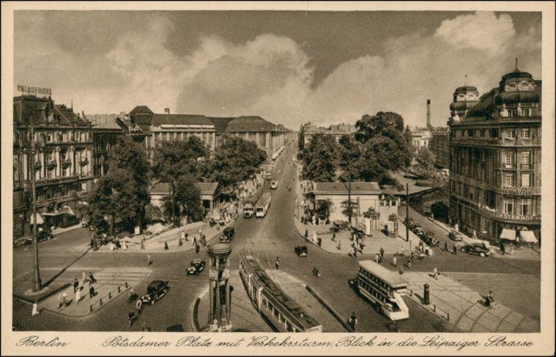 Ansichtskarte Tiergarten-Berlin Straßenbahn - Potsdamer Platz 1928