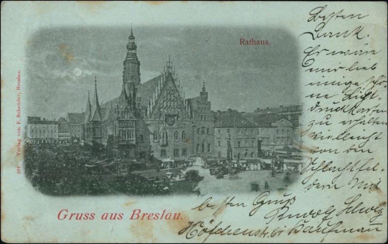 Postcard Breslau Wrocław Mondscheinlitho - Markttreiben am Rathaus 1898