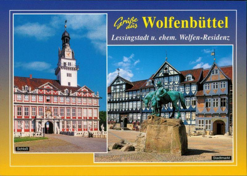 Ansichtskarte Wolfenbüttel Schloß und Stadtmarkt 1993