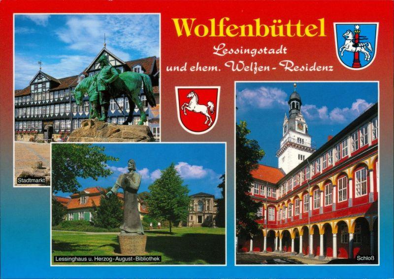 Ansichtskarte Wolfenbüttel Stadtmarkt, Lessinghaus mit Denkmal, Schloss 1995