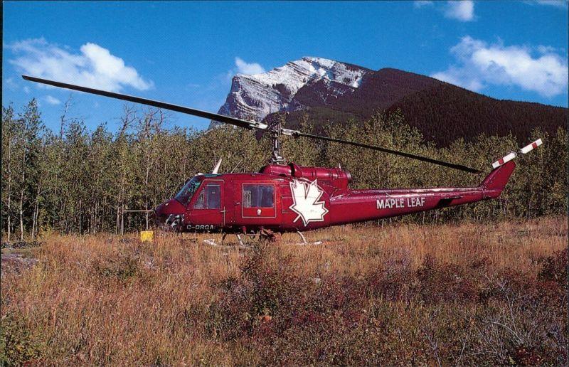 Ansichtskarte  Hubschrauber/Helicopter Bell 204B Dead Man's Flat, Alberta 1986