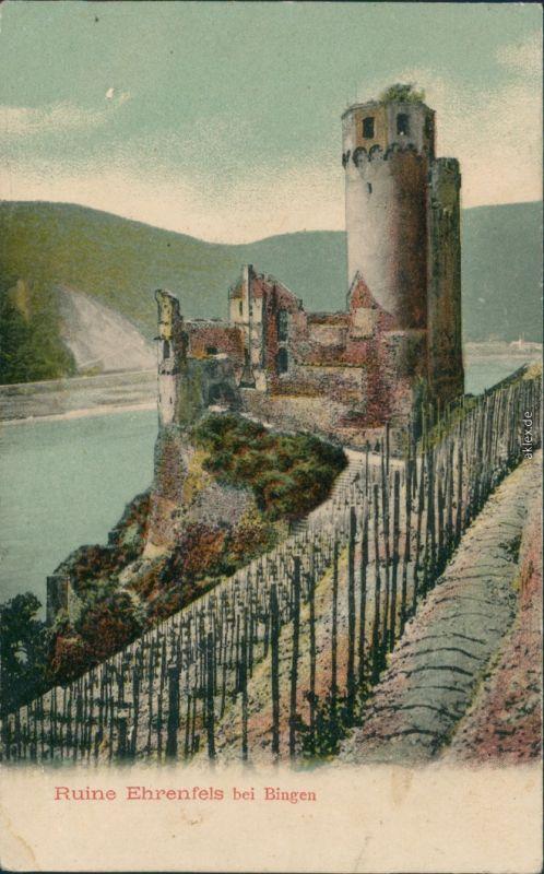 Ansichtskarte Rüdesheim (Rhein) Burg/ Ruine Ehrenfels 1912