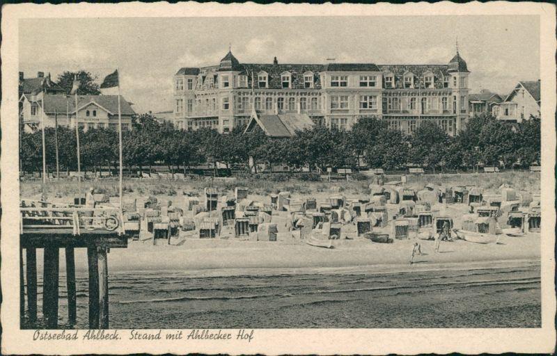 Ansichtskarte Ahlbeck (Usedom) Strand mit Ahlbecker Hof 1940