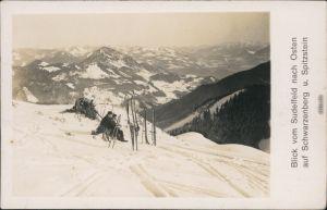 Ansichtskarte  Skifahrer auf Sudelfeld mit Schwarzenberg u. Spitzenstein 1928