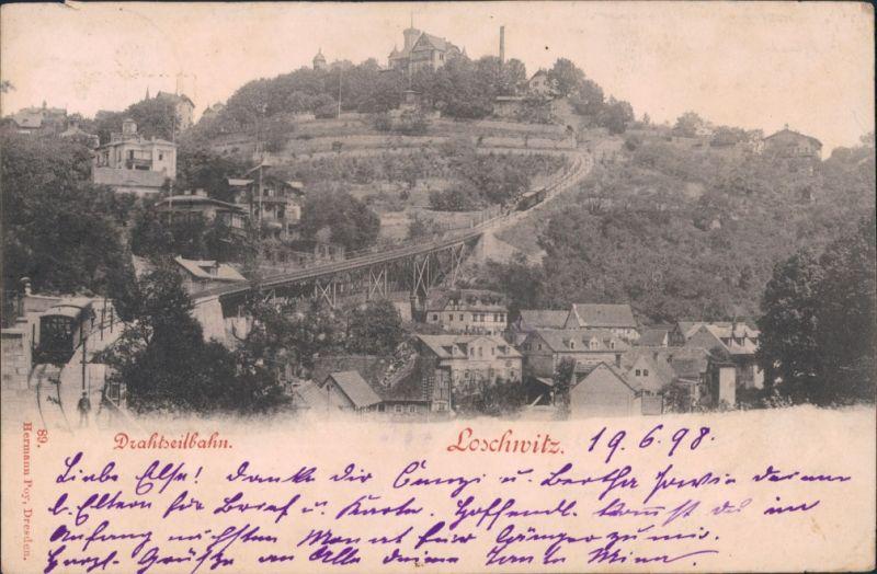 Ansichtskarte Loschwitz-Dresden Louisenhof mit Drahtseilbahn/Schwebebahn 1898
