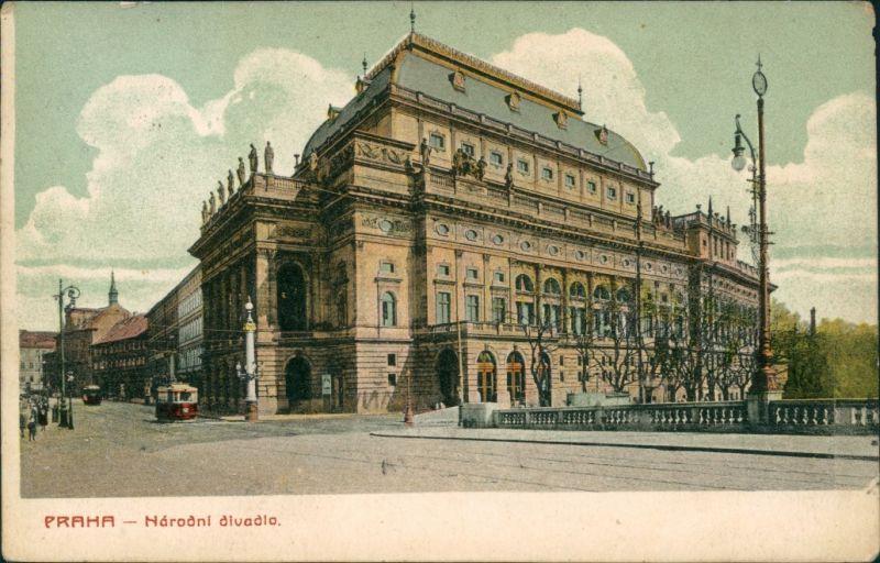 Postcard Prag Praha Straße am Nationaltheater 1910