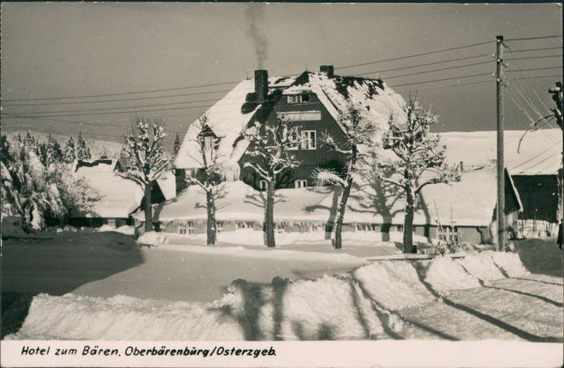 Oberbärenburg-Altenberg (Erzgebirge) Partie am Hotel zum Bären - Winter 1962