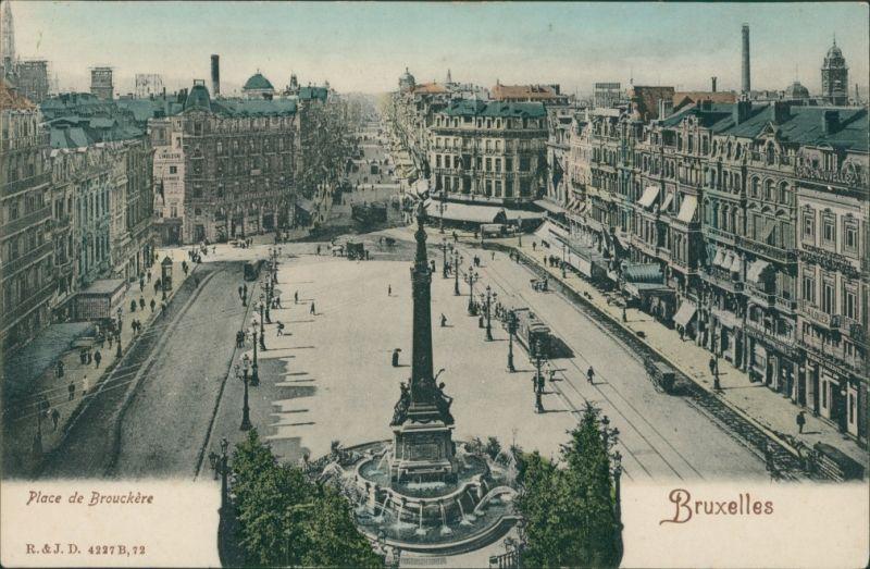 Postkaart Brüssel Bruxelles Place de Brouckere 1912