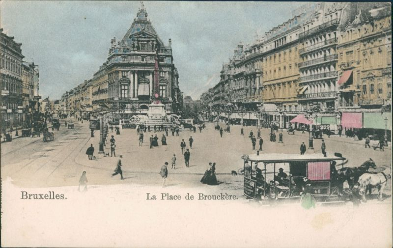 Postkaart Brüssel Bruxelles Place de Brouckere - Pferdebahn 1908