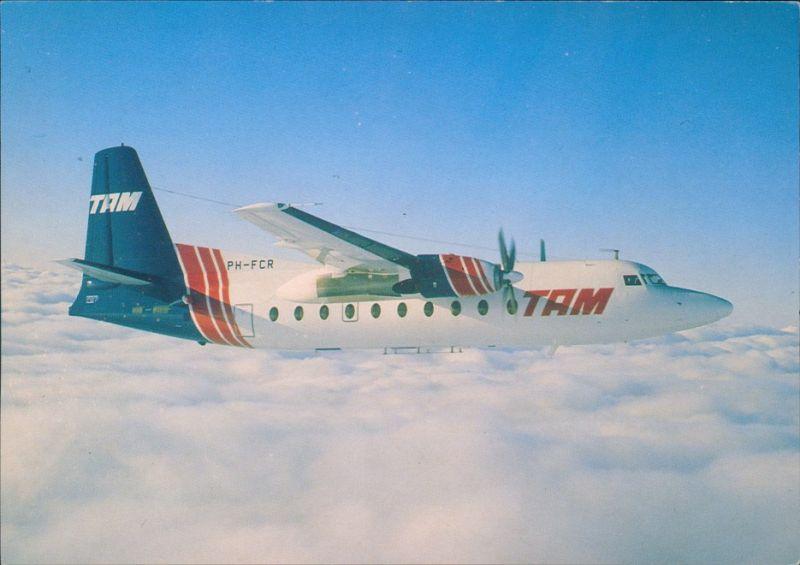Ansichtskarte  Fokker F27 Mk600 TAM PH-FCR Flugzeug 1990