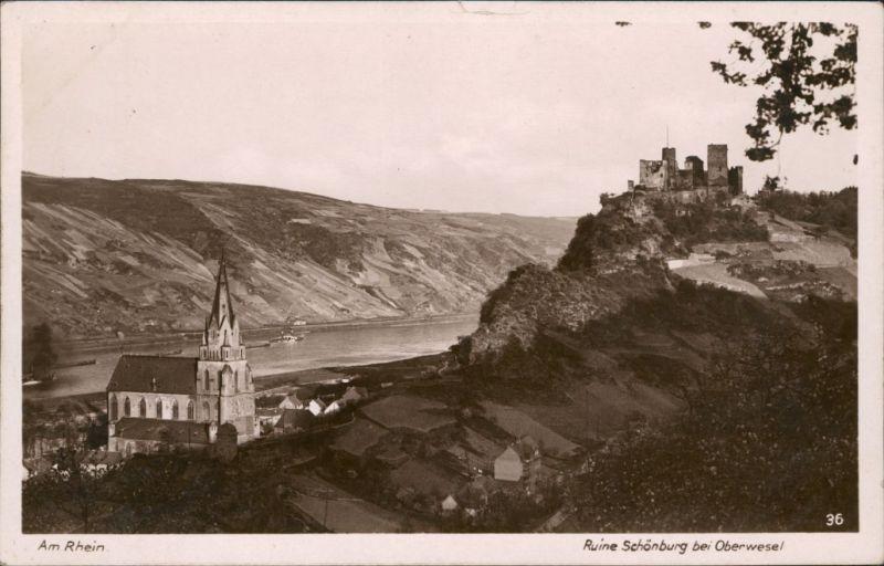 Ansichtskarte Oberwesel Ruine Schönburg 1929