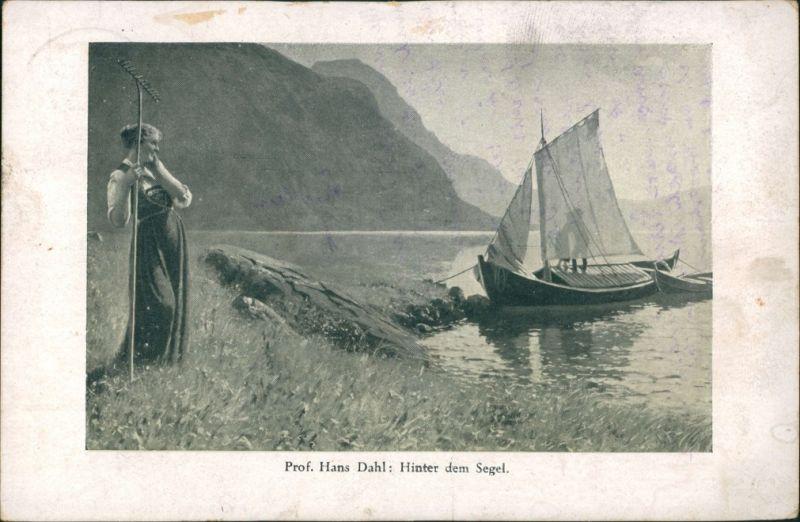 Ansichtskarte  Künstlerkarte Gemälde Hans Dahl - Hinter dem Segel 1923