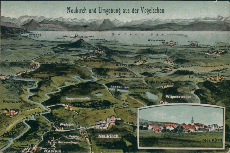 Ansichtskarte Neukirch 2 Bild Vogelschau -Eugen Felle Isny 1913