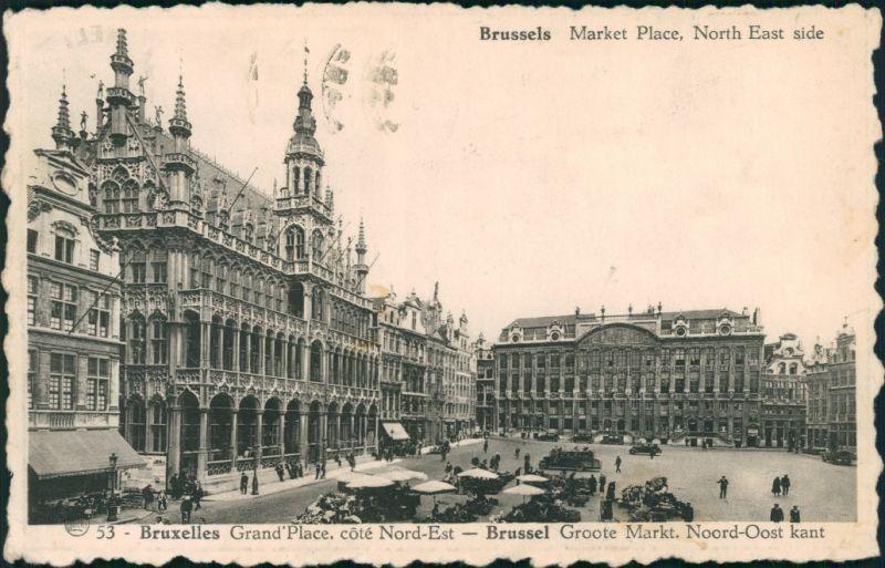 Postkaart Brüssel Bruxelles Markt - Grand Place 1932