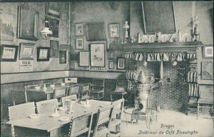 Postkaart Brügge Brugge | Bruges Interieur du Cafe Flessinghe 1913