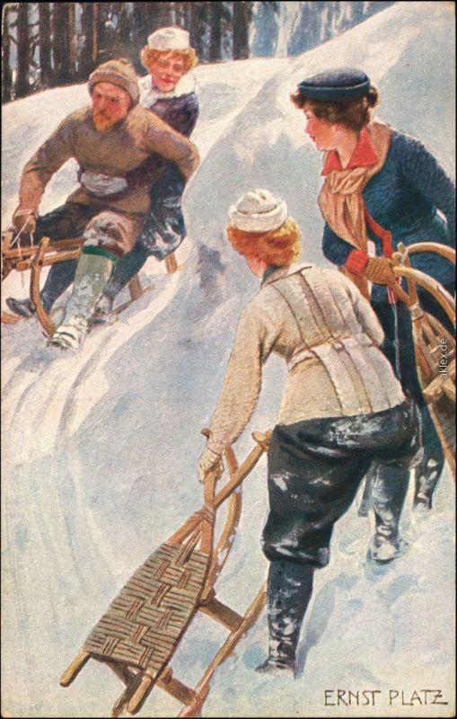 Ansichtskarte  Künstlerkarte v. Ernst Platz: Schlittenfahrt 1905