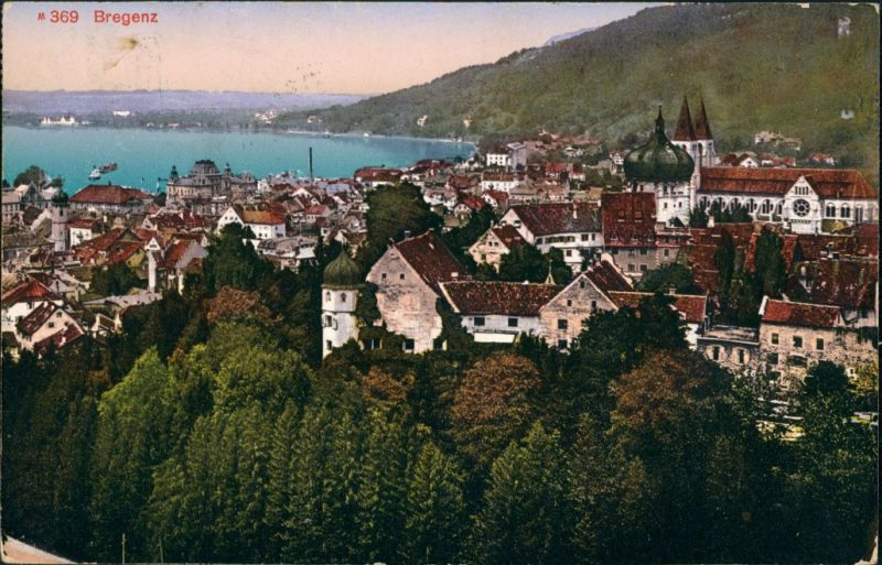 Ansichtskarte Bregenz Blick auf den Ort 1913