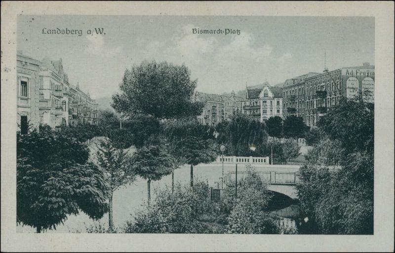 Postcard Landsberg (Warthe) Gorzów Wielkopolski Bismarck-Platz 1927
