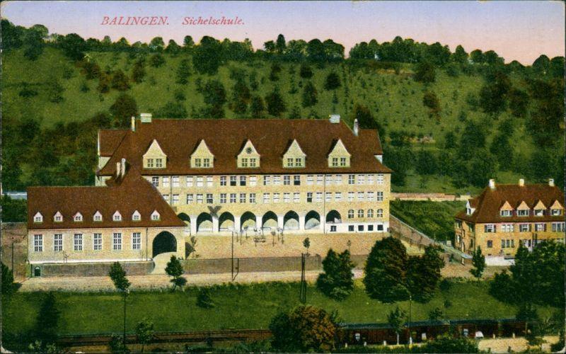 Ansichtskarte Balingen Blick auf die Sichelschule 1919