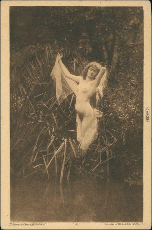 Ansichtskarte  Erotika nackte Frau - Naturaufnahme Nude 1918