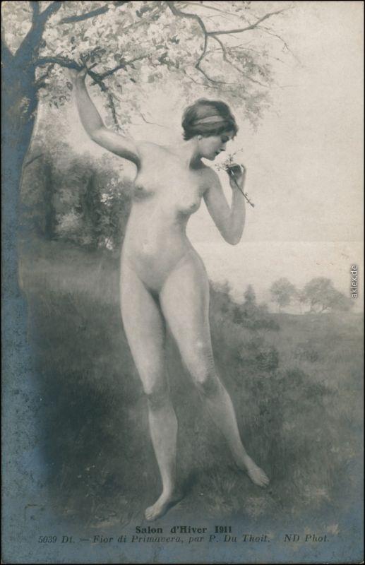 Ansichtskarte  Fotokunst - Junge Frau nackt am Baum Hiver Nude 1911