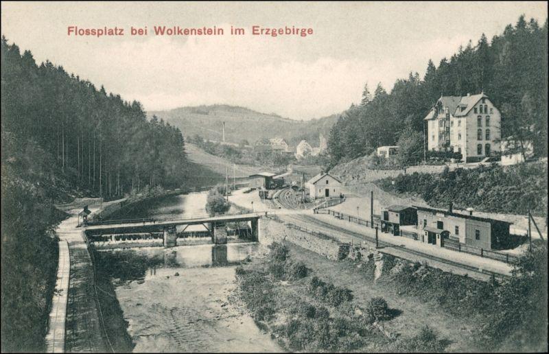 Ansichtskarte Wolkenstein Bahnhof - Flossplatz - Erzgebireg 1906