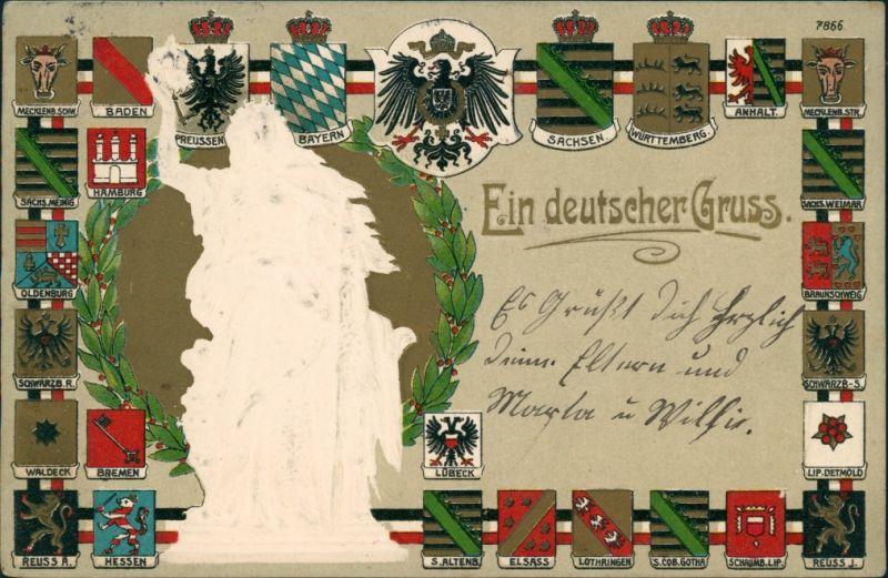 Präge Gold AK: Deutscher Gruss Bundesländer Germania 1914 Goldrand