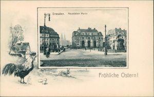 Ansichtskarte Innere Neustadt-Dresden Neustädter Markt - Hahn 1909