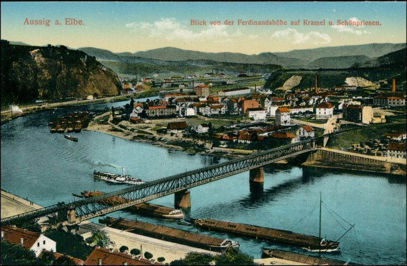Aussig Ústí nad Labem   von der Ferdinandshöhe auf Kramel und Schönpriesen 1915