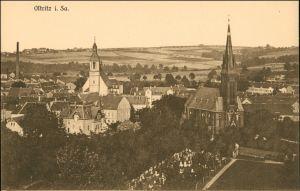 Ansichtskarte Ostritz (Oberlausitz) Wostrowc Blick auf den Ort 1912