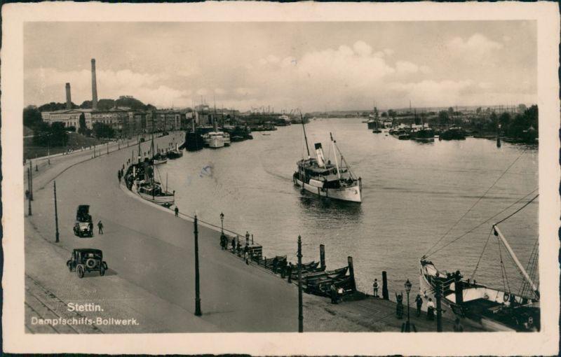 Postcard Stettin Szczecin Partie am Dampfschiffbollwerk 1934