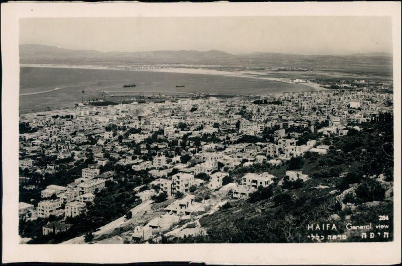 Postcard Haifa Israel Blick auf die Stadt 1950