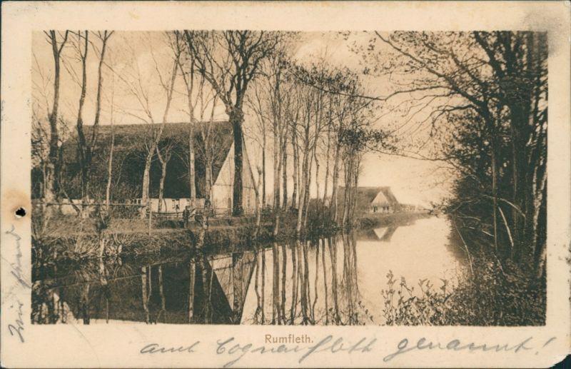 Ansichtskarte Wilster Rumfleth - Kanal mit Bauerngehöft 1906