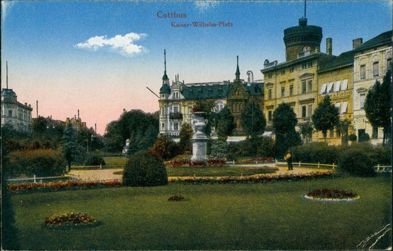 Ansichtskarte Cottbus Kaiser-Wilhelm-Platz - Park 1916