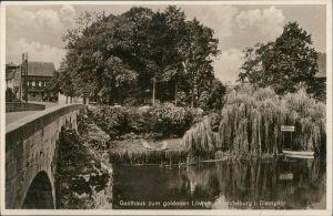 Ansichtskarte Trendelburg Brücke . Gasthaus zum goldenen Löwen 1928