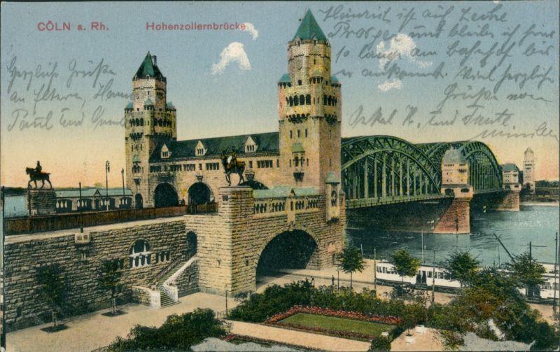 Ansichtskarte Köln Hohenzollernbrücke - Straßenbahn 1911