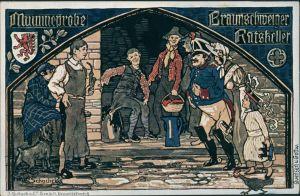 Ansichtskarte Braunschweig Künstlerkarte Mummeprobe - Ratskelelr 1909