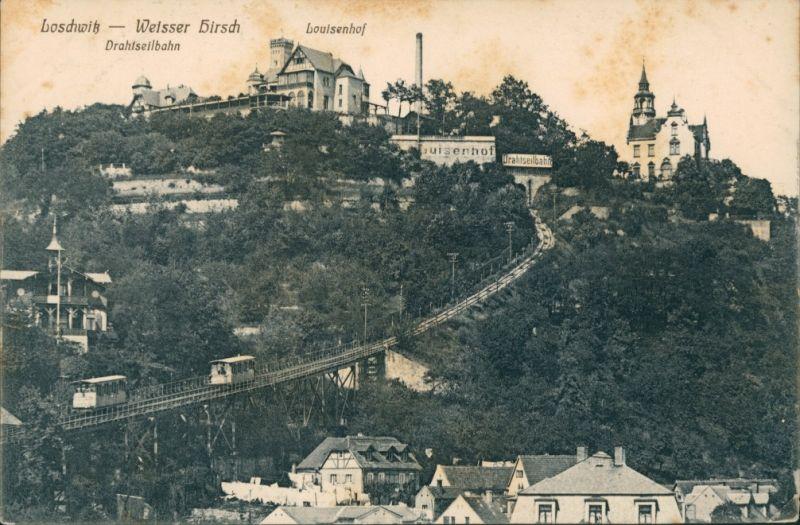 Ansichtskarte Loschwitz-Dresden Loschwitz - Berbahn - Louisenhof 1914