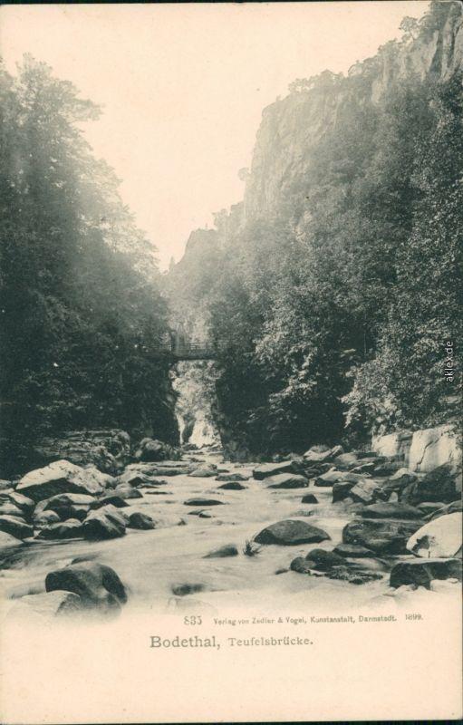 Ansichtskarte Thale (Harz) Bodethal - Teufelsbrücke 1899