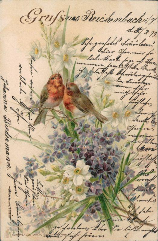 Glückwunsch / Grusskarten: Allgemein - Zwei Vögel im Blumenmeeer 1899