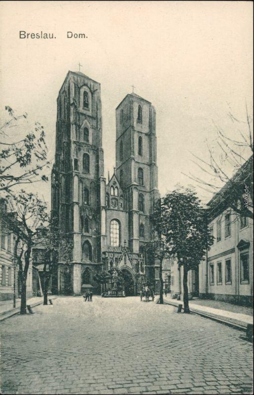 Postcard Breslau Wrocław Straßenpartie zum Dom 1912