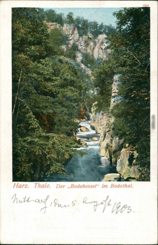 Ansichtskarte Thale (Harz) Bodekessel im Bodethal 1903