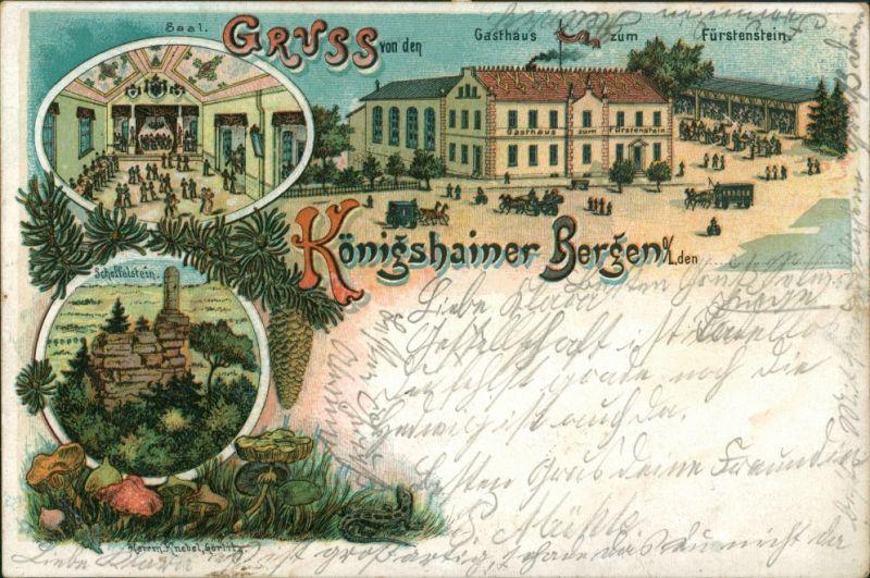 Königshain Litho AK Gasthaus Fürstenstein, Königshainer Berge 1902 Litho