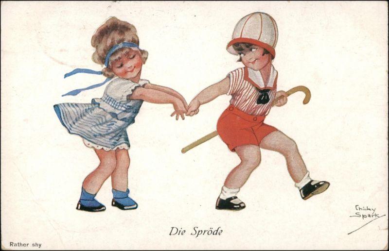 Ansichtskarte  Künstlerkarte Junge Mädchen die Spröde - Chicky Spark 1919