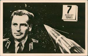 Ansichtskarte  Major German Stepanowitsch Titow, Wostok 2, Raumfahrt 1961