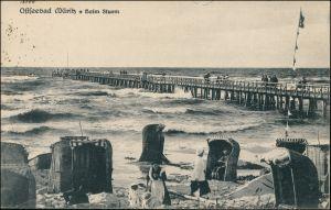 Ansichtskarte Graal-Müritz Ostseebad beim Sturm, Strand mit Menschen 1921