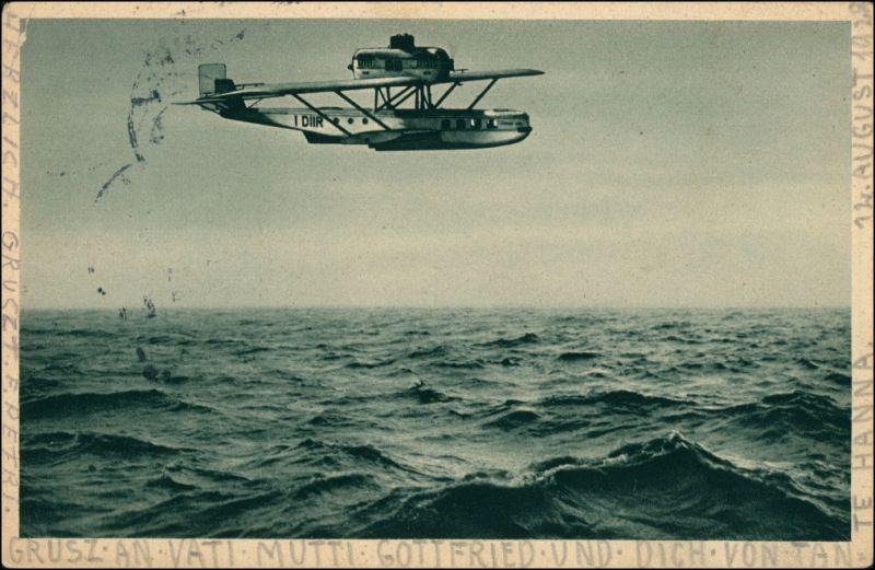 Verkehrsflugboot Dornier Wal über dem Mittelmeer, Wasserflugzeug 1928