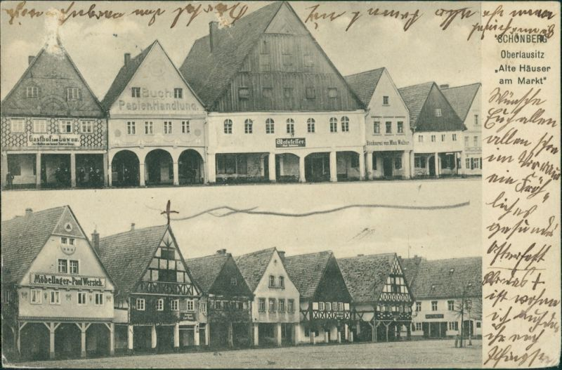 Postcard Schönberg (Oberlausitz) Sulików 2 Bild: Marktplatz b Görlitz 1913